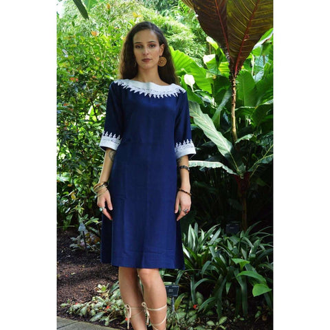Navy Blue  Resort Reina Style Tunic Dress - Maison De Marrakech