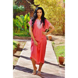 Pink Resort Marwa Lounge Wear Caftan Kaftan with White Embroidery - Maison De Marrakech