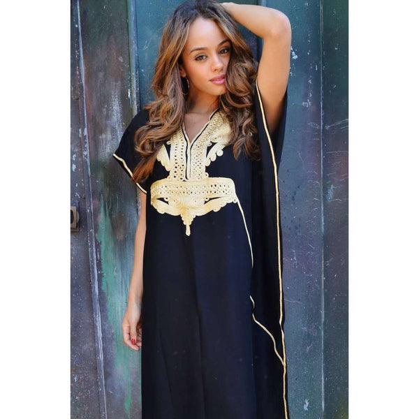 Black with Gold Marrakech Resort Lounge Wear Caftan Kaftan - Maison De Marrakech