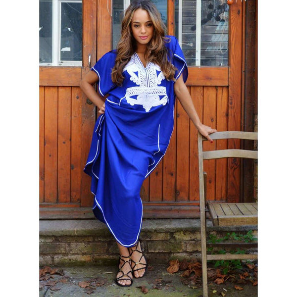 Marine Blue with White Marrakech Resort Lounge Wear Caftan Kaftan - Maison De Marrakech