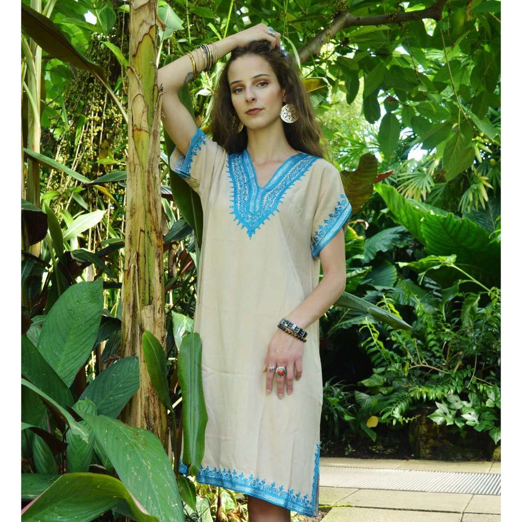 Beige with Tuquoise Embroidery Tunic Dress-Moroccan Dress - Maison De Marrakech