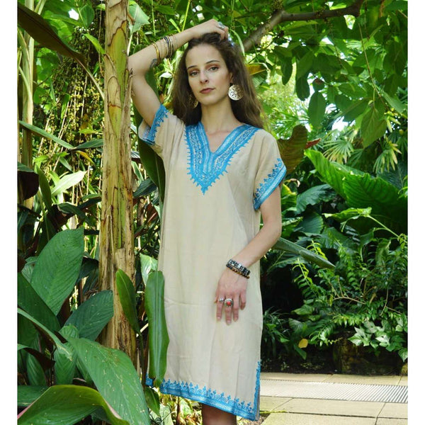 Beige with Tuquoise Embroidery Tunic Dress-Moroccan Dress,Beige with Tuquoise Embroidery Tunic Dress-Moroccan Dress