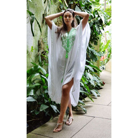 White & Lime Green Embroidery Resort Caftan Kaftan -Beach Cover Ups - Maison De Marrakech