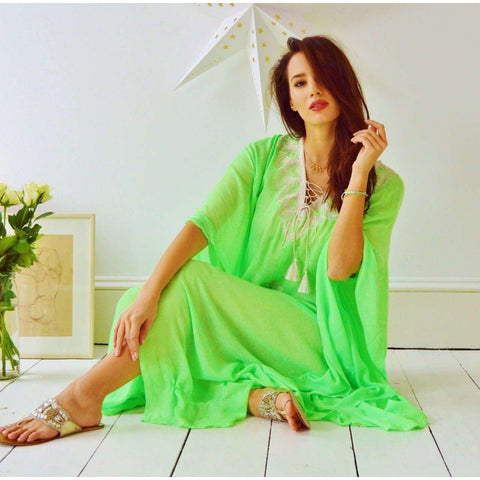 Light Lime Green Embroidery Resort Caftan Kaftan -Beach Cover Ups,Light Lime Green Embroidery Resort Caftan Kaftan -Beach Cover Ups