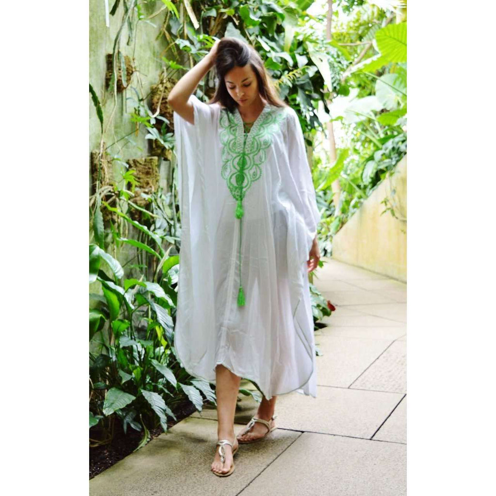 White & Lime Green Embroidery Resort Caftan Kaftan -Beach Cover Ups,White & Lime Green Embroidery Resort Caftan Kaftan -Beach Cover Ups