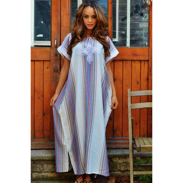White Abaya Style Resort Lounge Wear Caftan Kaftan - Maison De Marrakech