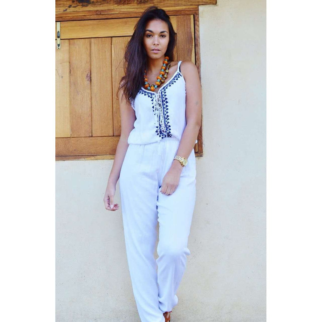 Marrakech White Karima Boho Jumpsuit