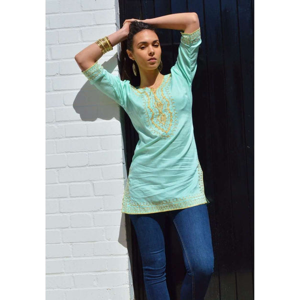 Amira Style Emerald Green with Gold Embroidery Tunic-Moroccan Tunic - Maison De Marrakech
