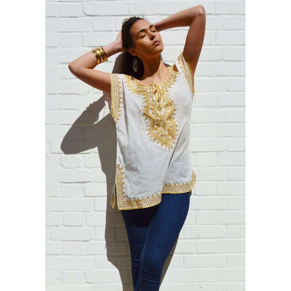 Asmahan Style White with Gold Embroidery Tunic - Maison De Marrakech