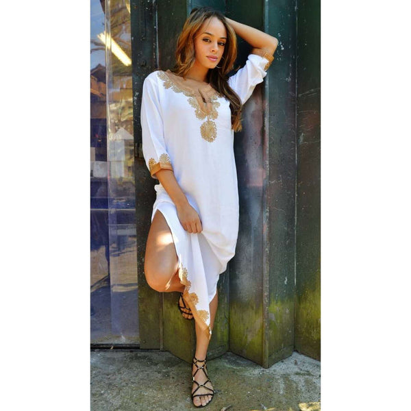 White Marrakech Kaftan with Dark Golden Embroidery Kalina Style-Long Kaftan - Maison De Marrakech