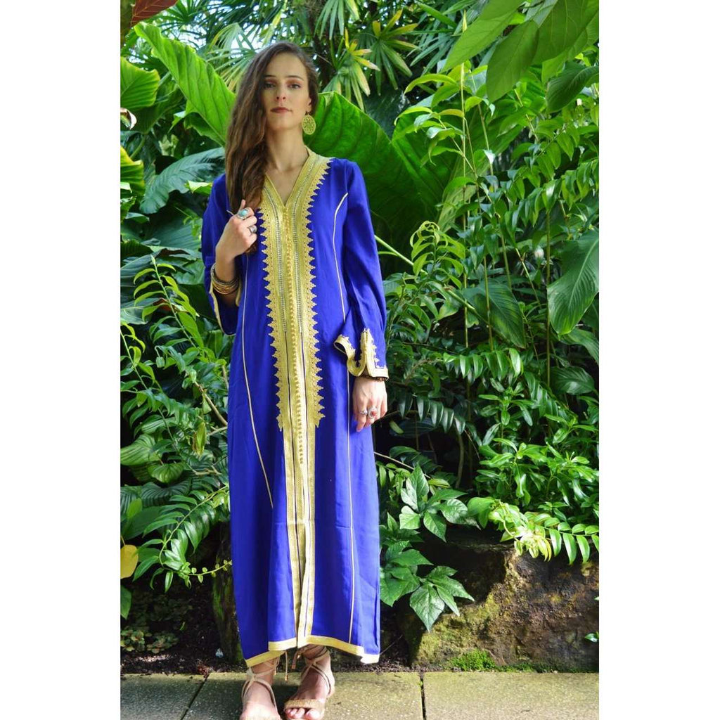 Blue Gold Kaftan Maxi Dress- Naima Style - Maison De Marrakech