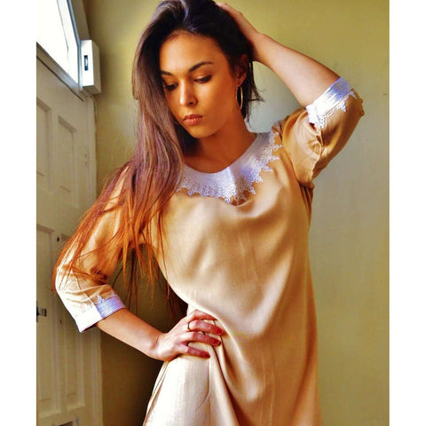 Beige Resort Reina Style Tunic Dress - Maison De Marrakech