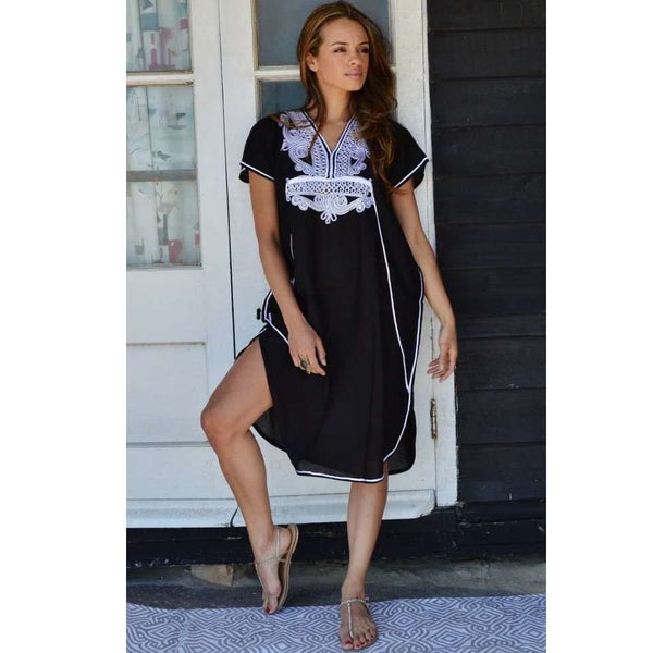 Black with White Marrakech Resort Short Lounge Wear Caftan Kaftan Tunic - Maison De Marrakech
