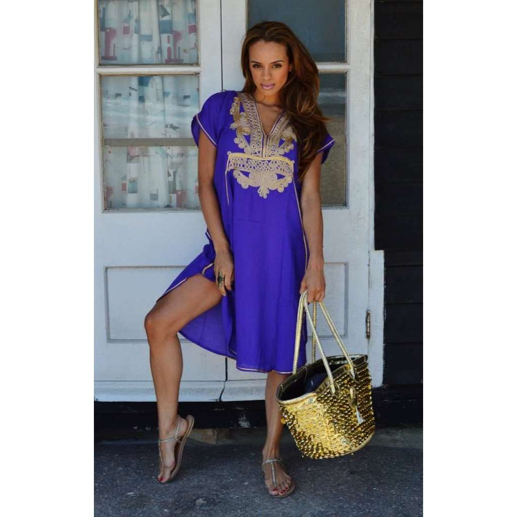 Purple with Gold Marrakech Resort Short Boho Moroccan Kaftan
