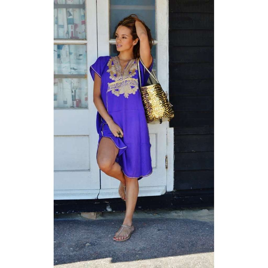 Purple with Gold Marrakech Resort Short Boho Moroccan Kaftan - Maison De Marrakech