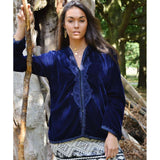 Navy Velvet Luxury Bohemian Hoodie Jacket with Embroidery- bohemian Jacket - Maison De Marrakech