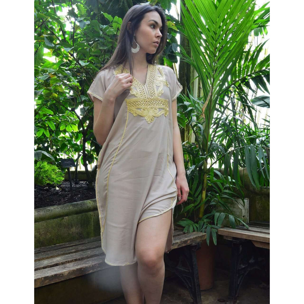 Beige Marrakech Resort Lounge Wear Short Tunic Caftan Kaftan with Gold Embroidery - Maison De Marrakech