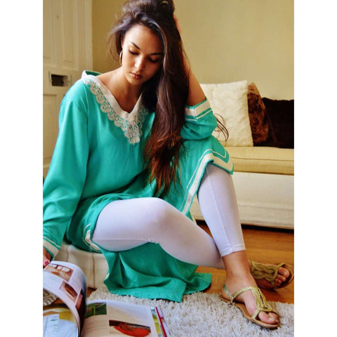 Leila Style Light Green Kaftan - Maison De Marrakech