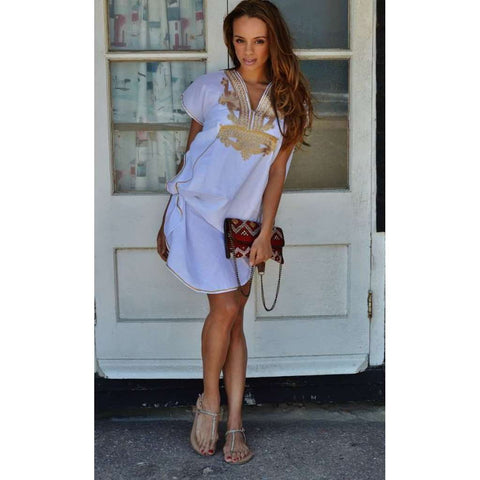 White with Gold Marrakech Resort Short Lounge Wear Caftan Kaftan Tunic - Maison De Marrakech