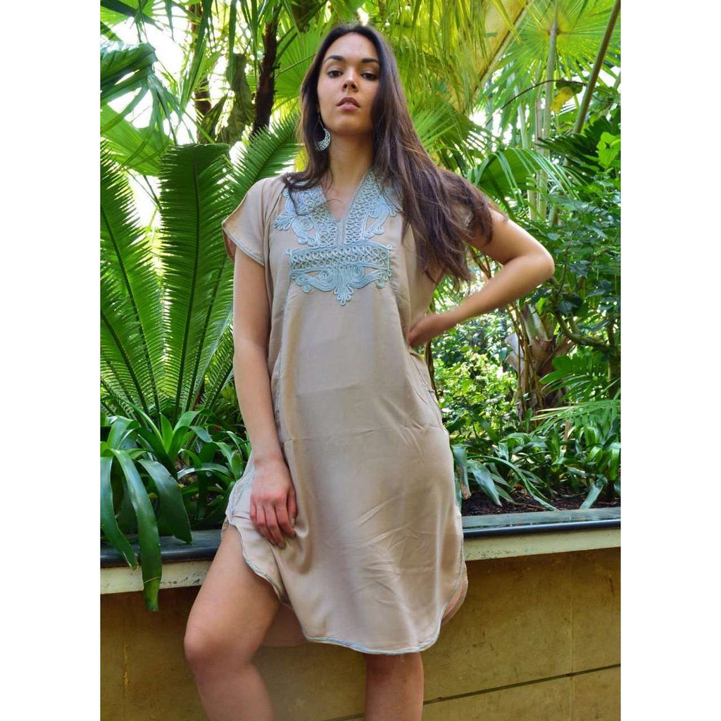 Beige Marrakech Resort Lounge Wear Short Tunic Caftan Kaftan with Silver Embroidery - Maison De Marrakech