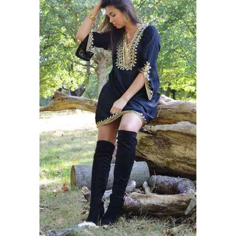 Black with Gold Embroidery Tunic- Autumn Moroccan Boho Tunic - Maison De Marrakech