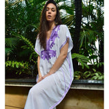 White Marrakech Resort Lounge Wear Caftan Kaftan with Purple Embroidery-Moroccan Kaftan - Maison De Marrakech