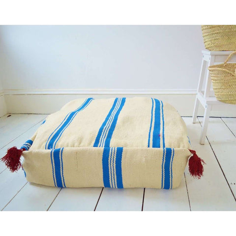 Moroccan White with Blue Kilim Pouf - Maison De Marrakech