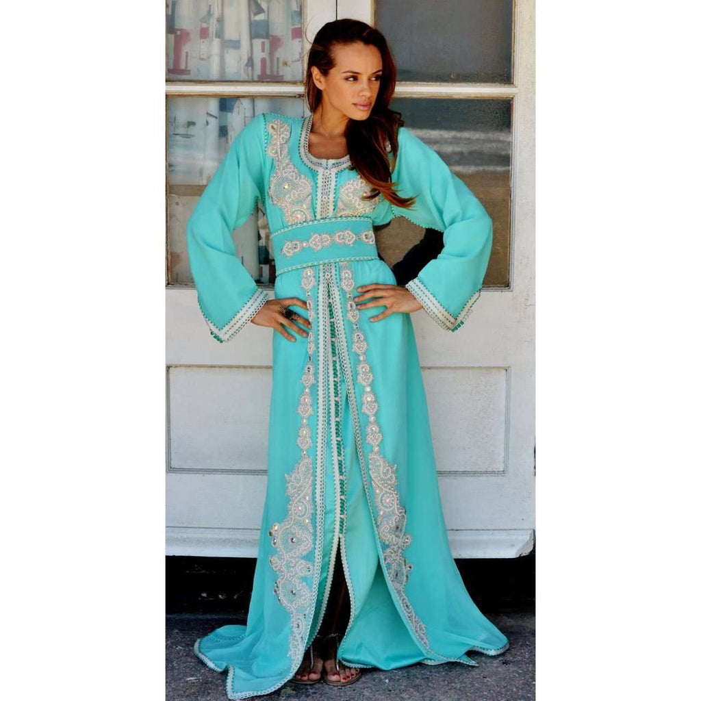 Mint Green Moroccan Takchita Party Kaftan-Kalia Style