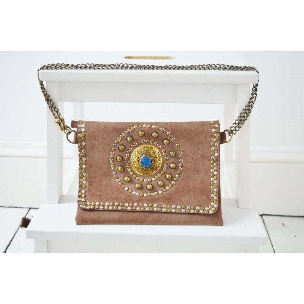 Beige Leather Gem Handmade Clutch with Shoulder Straps -Moroccan Clutch