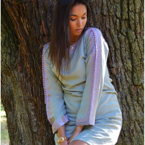 New Grey Lilac Trumpet Sleeve Tunic Dress-Latishia Style - Maison De Marrakech