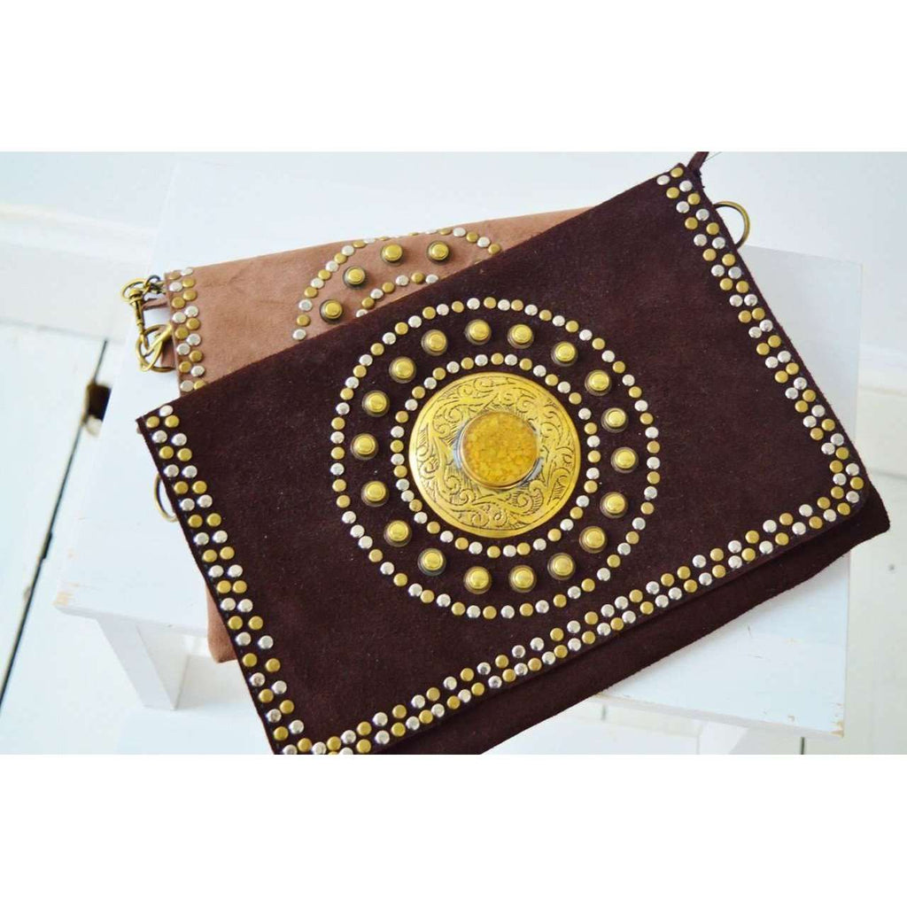 Brown Leather Gem Handmade Clutch with Shoulder Straps -Moroccan Clutch - Maison De Marrakech