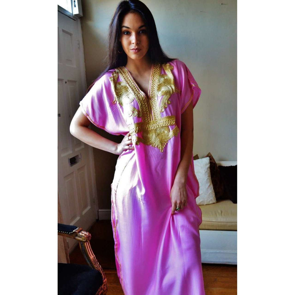 Pink Marrakech Resort Lounge Wear Caftan Kaftan with Gold Embroidery - Maison De Marrakech