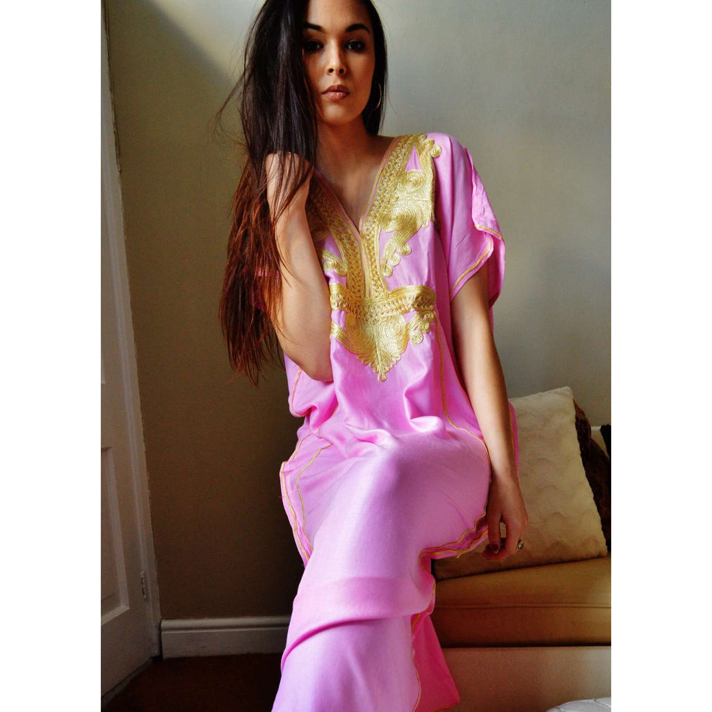 Pink Marrakech Resort Lounge Wear Caftan Kaftan with Gold Embroidery