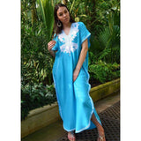 Turquoise Blue Marrakech Resort Lounge Wear Caftan Kaftan with White Embroidery-Moroccan Kaftan - Maison De Marrakech