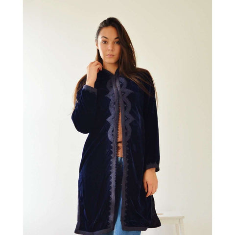 New Navy Blue Velvet Luxury Bohemian Jacket with Black Embroidery- bohemian Jacket - Maison De Marrakech