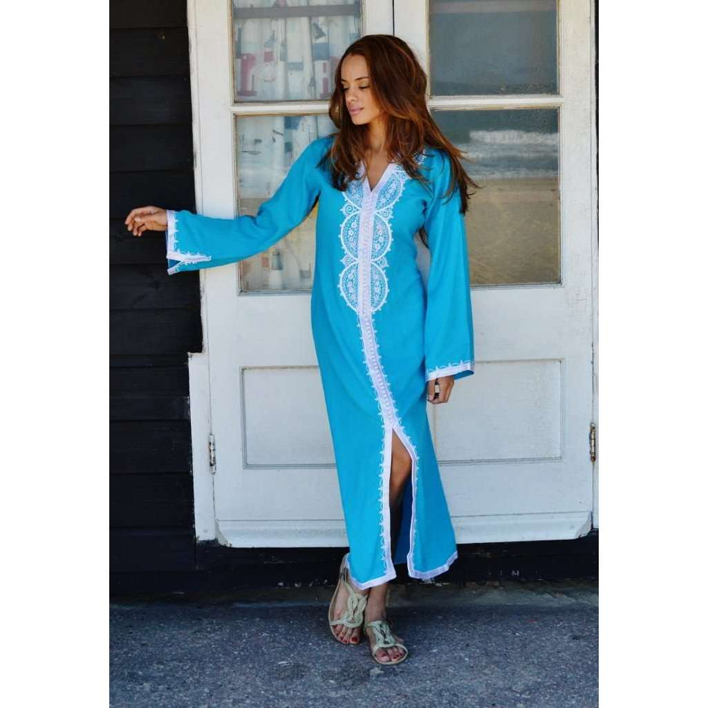 Turquoise with White Embroidery  Kaftan Maxi Dress -Lella Style - Maison De Marrakech