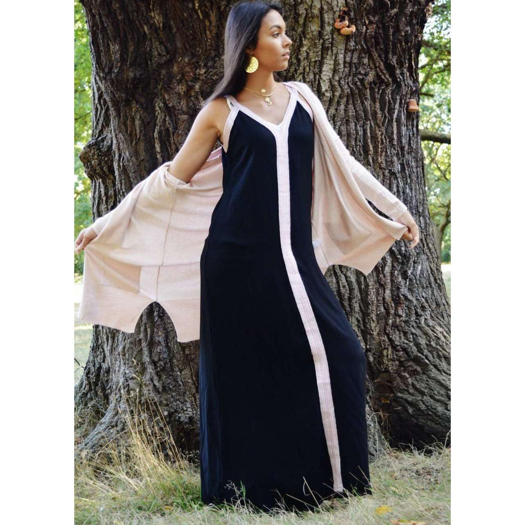 Black Boho Sahra Maxi Dress- Moroccan Kaftan