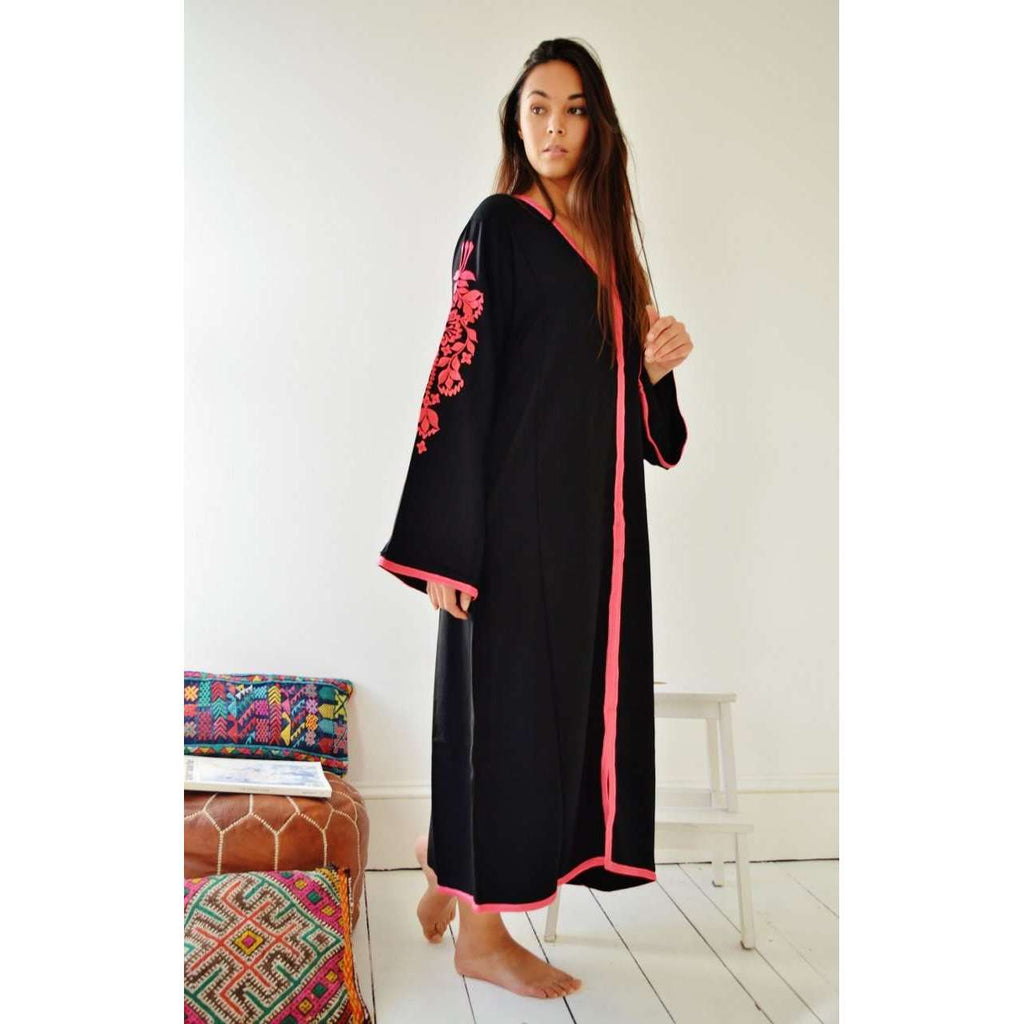 Black Floral Moroccan Embroidery Kaftan- Rose