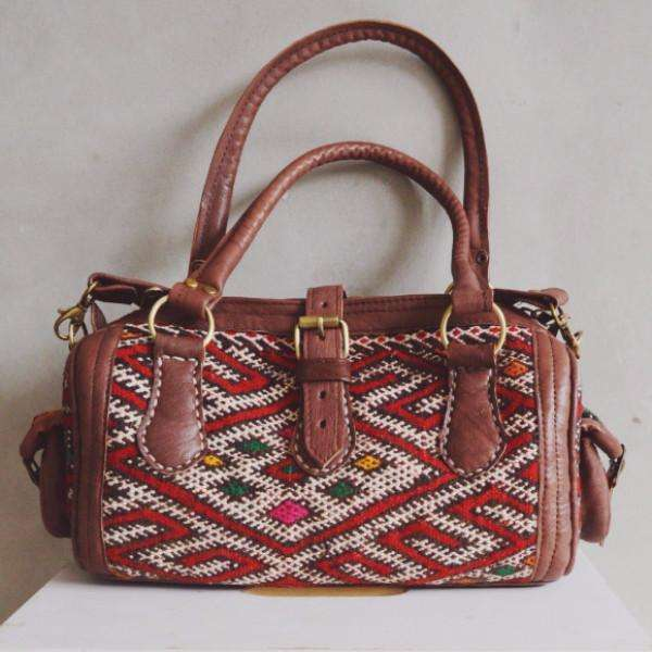Moroccan Kilim Leather Satchel Cross Shoulder Straps Berber style No.2