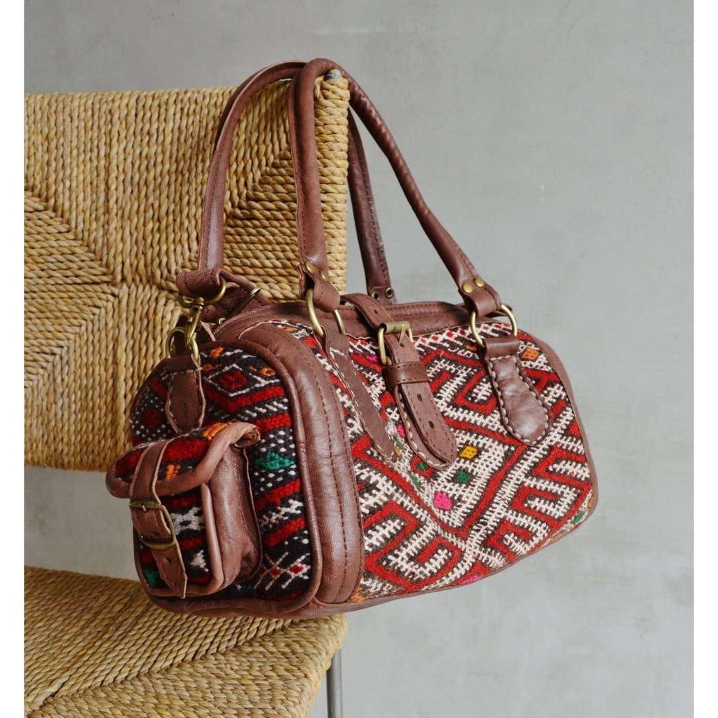 Moroccan Kilim Leather Satchel Cross Shoulder Straps Berber style No.2 - Maison De Marrakech
