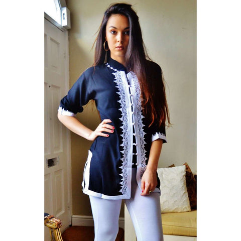 Black and White Moroccan Tunic-Selma - Maison De Marrakech