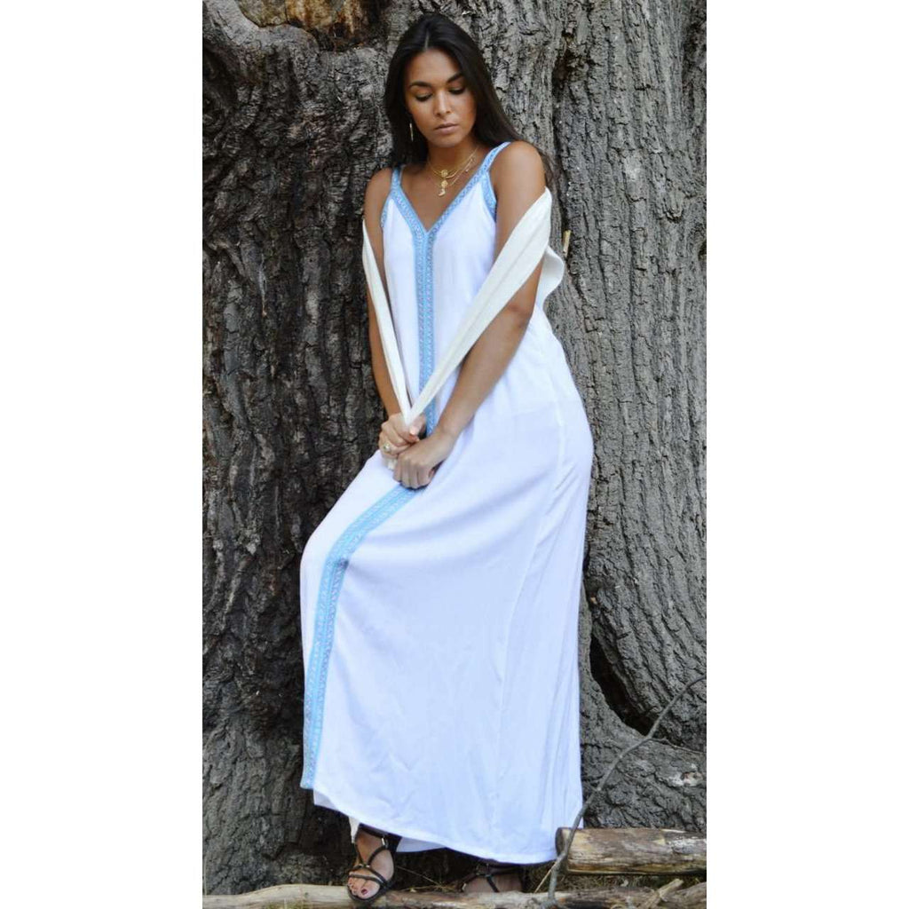 White Boho Sahra Maxi Dress- Moroccan Kaftan