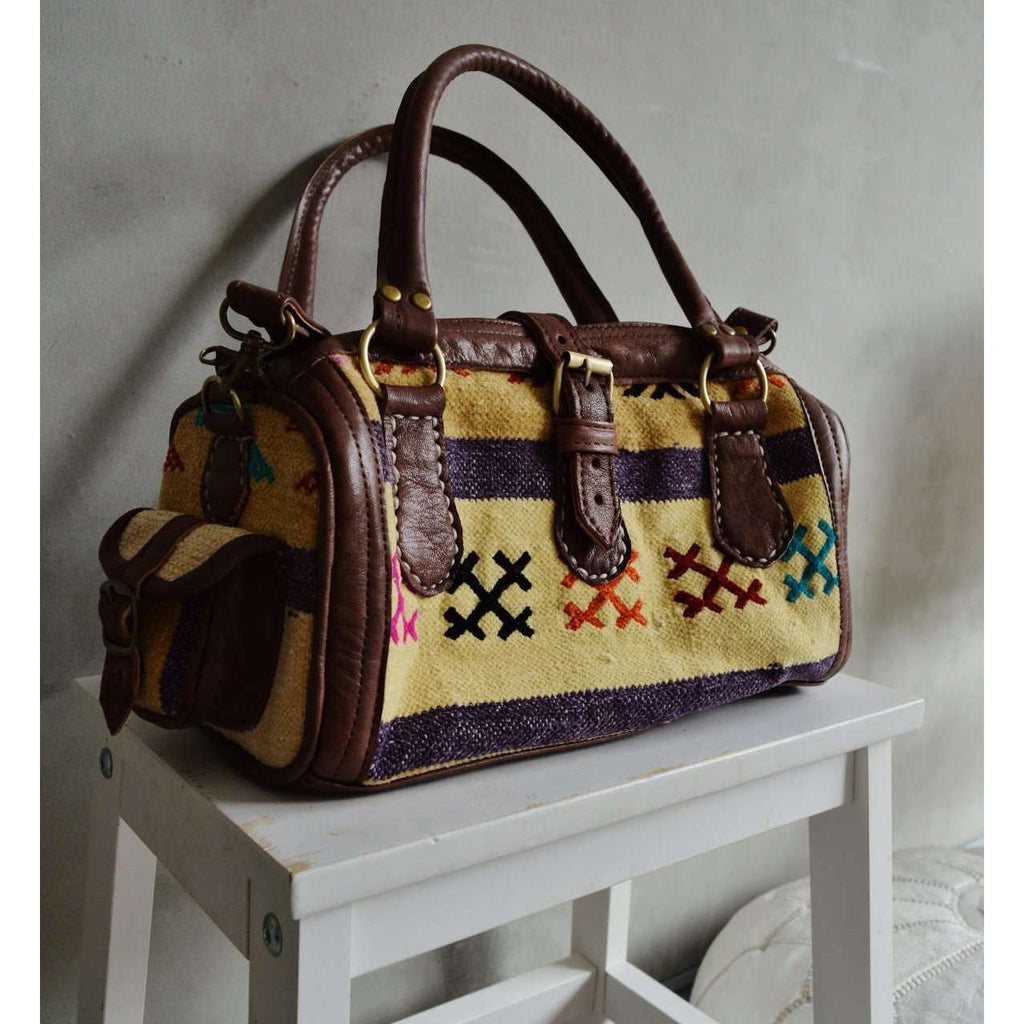 Moroccan Kilim Leather Satchel Cross Shoulder Straps Berber style No.3,Moroccan Kilim Leather Satchel Cross Shoulder Straps Berber style No.3