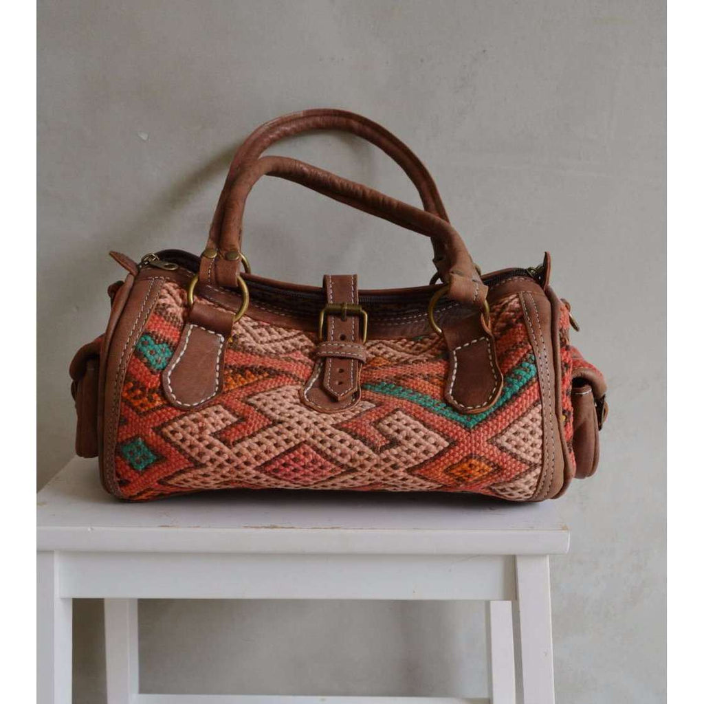 Moroccan Kilim Leather Satchel Cross Shoulder Straps Berber style No.5 - Maison De Marrakech
