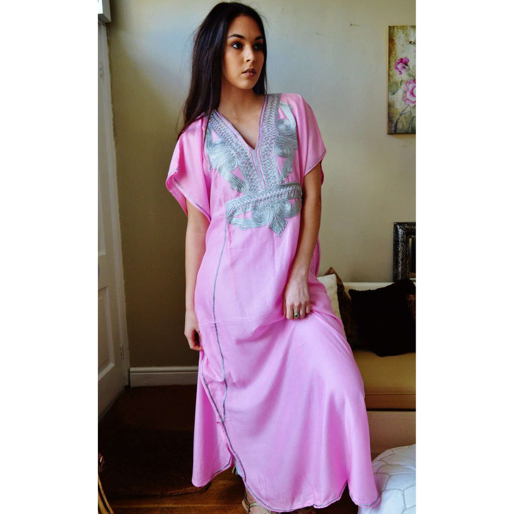 Pink Marrakech Resort Lounge Wear Caftan Kaftan with Silver Embroidery - Maison De Marrakech