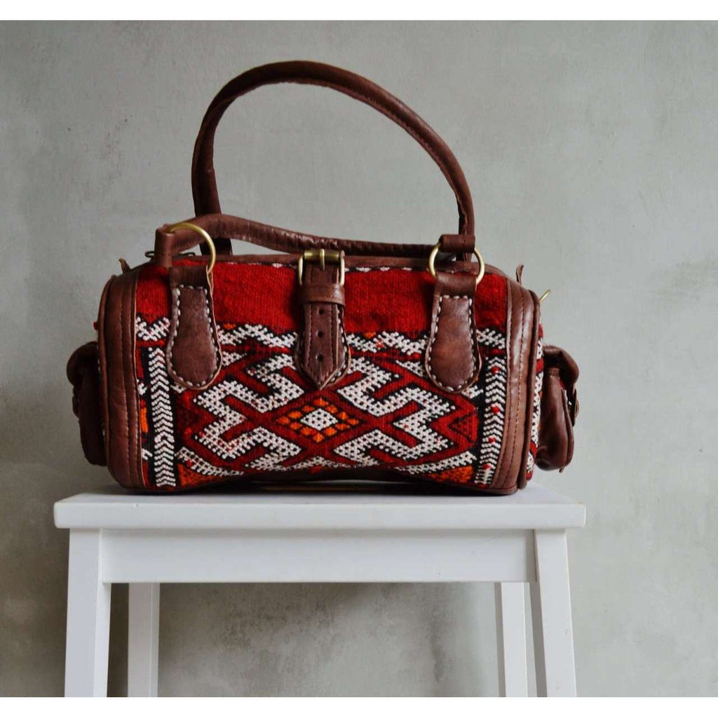 Moroccan Kilim Leather Satchel Cross Shoulder Straps Berber style No.4 - Maison De Marrakech