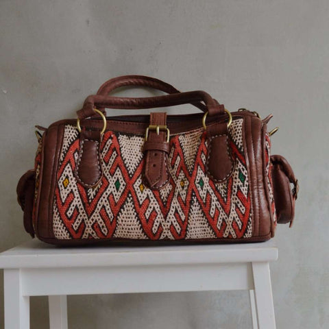 Moroccan Kilim Leather Satchel Cross Shoulder Straps Berber style No.6 - Maison De Marrakech