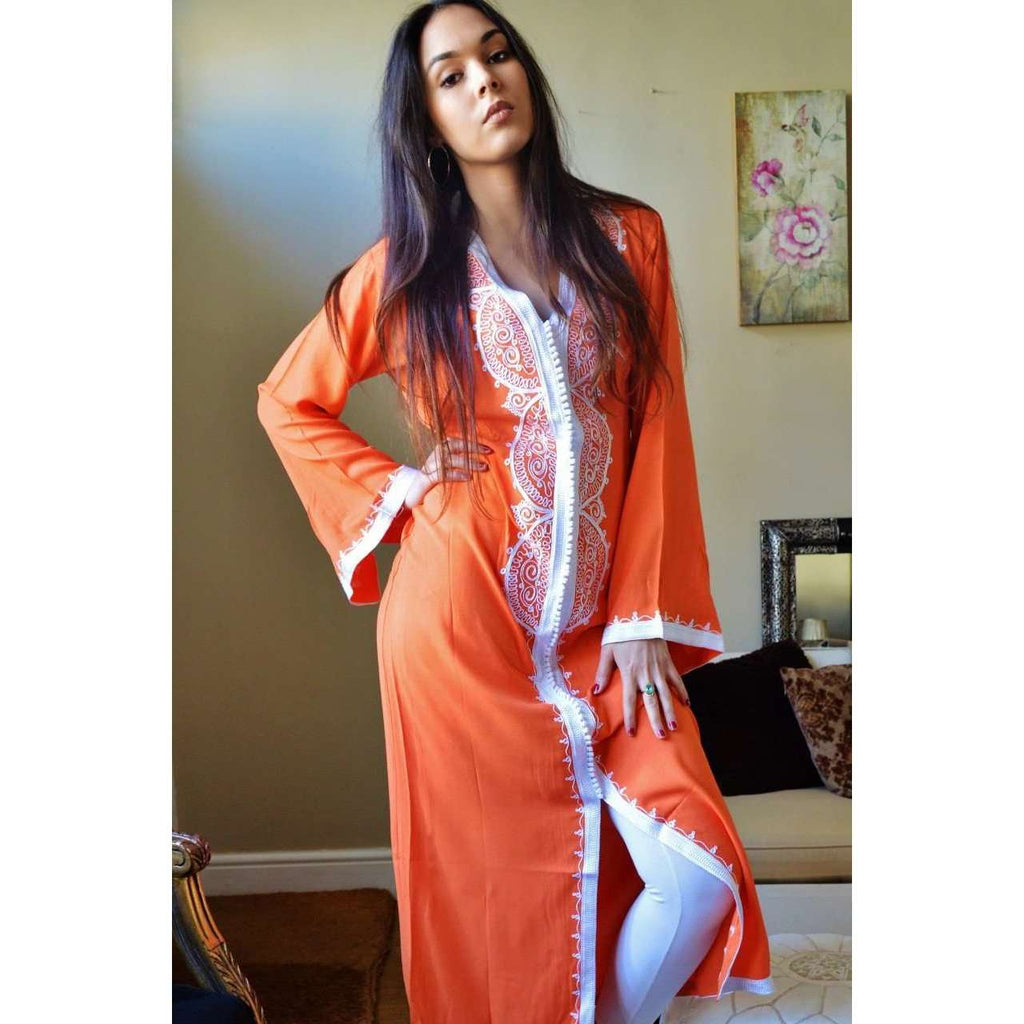 Orange Moroccan Kaftan Dress Lella Style - Maison De Marrakech