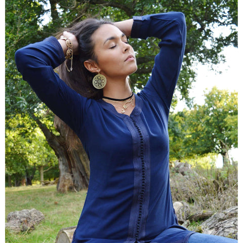 Autumn New Navy Blue Magrib Moroccan Embroidery Shirt Tunic - Maison De Marrakech