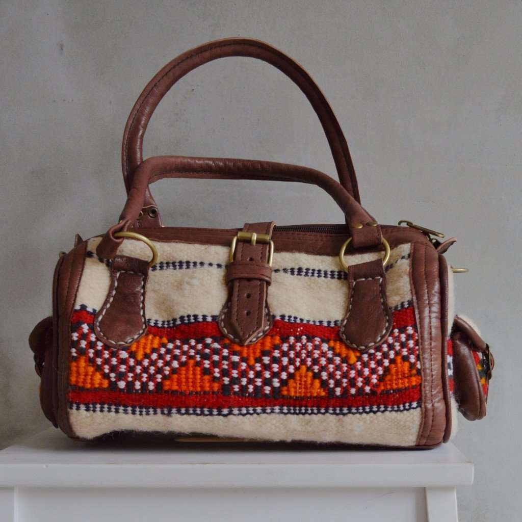 Moroccan Kilim Leather Satchel Cross Shoulder Straps Berber style No. 8
